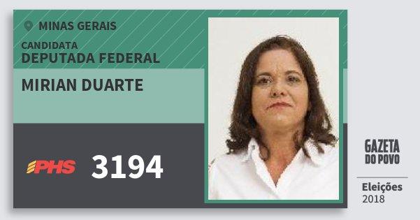 Santinho Mirian Duarte 3194 (PHS) Deputada Federal | Minas Gerais | Eleições 2018