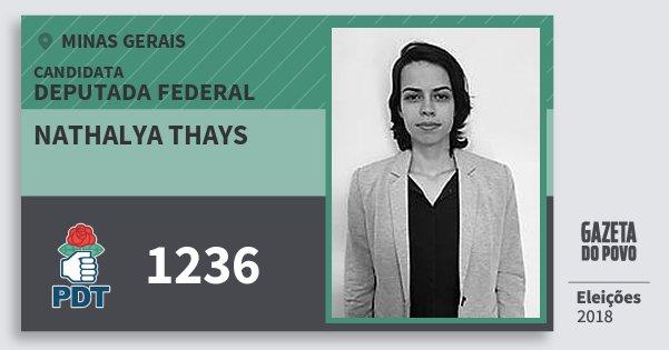 Santinho Nathalya Thays 1236 (PDT) Deputada Federal | Minas Gerais | Eleições 2018