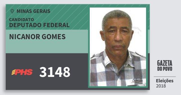 Santinho Nicanor Gomes 3148 (PHS) Deputado Federal | Minas Gerais | Eleições 2018