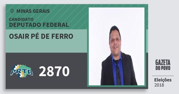 Santinho Osair Pé de Ferro 2870 (PRTB) Deputado Federal | Minas Gerais | Eleições 2018