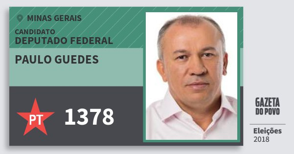 Santinho Paulo Guedes 1378 (PT) Deputado Federal | Minas Gerais | Eleições 2018