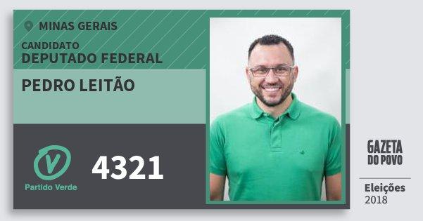 Santinho Pedro Leitão 4321 (PV) Deputado Federal | Minas Gerais | Eleições 2018