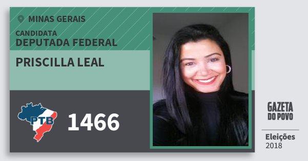 Santinho Priscilla Leal 1466 (PTB) Deputada Federal | Minas Gerais | Eleições 2018