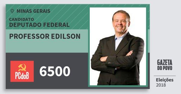 Santinho Professor Edilson 6500 (PC do B) Deputado Federal | Minas Gerais | Eleições 2018