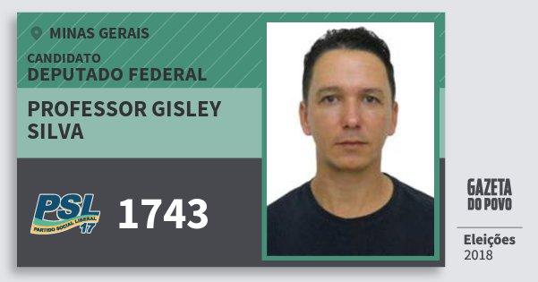 Santinho Professor Gisley Silva 1743 (PSL) Deputado Federal | Minas Gerais | Eleições 2018