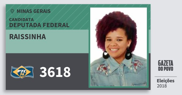 Santinho Raissinha 3618 (PTC) Deputada Federal | Minas Gerais | Eleições 2018