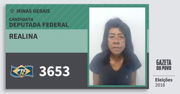 Santinho Realina 3653 (PTC) Deputada Federal | Minas Gerais | Eleições 2018