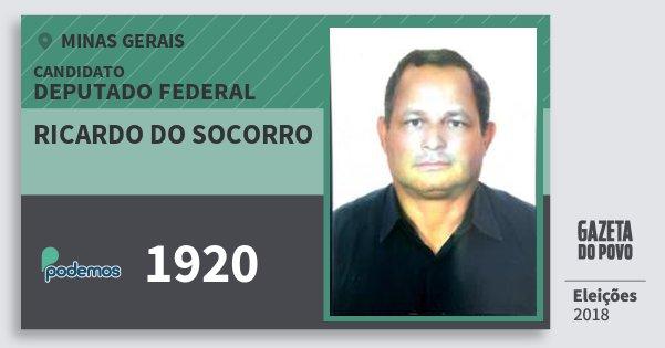 Santinho Ricardo do Socorro 1920 (PODE) Deputado Federal | Minas Gerais | Eleições 2018