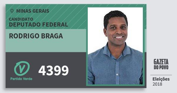 Santinho Rodrigo Braga 4399 (PV) Deputado Federal | Minas Gerais | Eleições 2018
