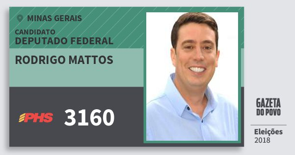 Santinho Rodrigo Mattos 3160 (PHS) Deputado Federal | Minas Gerais | Eleições 2018