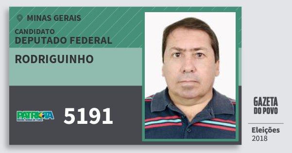 Santinho Rodriguinho 5191 (PATRI) Deputado Federal | Minas Gerais | Eleições 2018