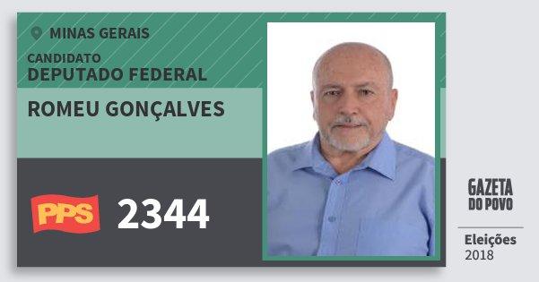 Santinho Romeu Gonçalves 2344 (PPS) Deputado Federal | Minas Gerais | Eleições 2018