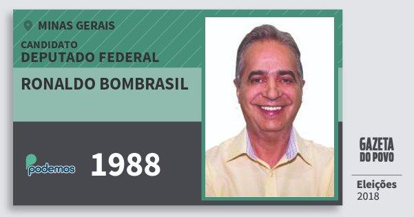 Santinho Ronaldo Bombrasil 1988 (PODE) Deputado Federal | Minas Gerais | Eleições 2018