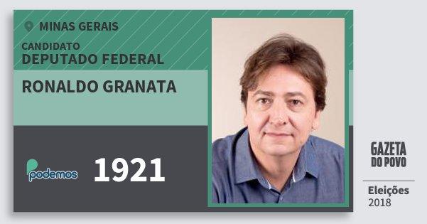 Santinho Ronaldo Granata 1921 (PODE) Deputado Federal | Minas Gerais | Eleições 2018