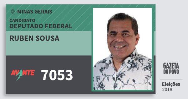 Santinho Ruben Sousa 7053 (AVANTE) Deputado Federal | Minas Gerais | Eleições 2018