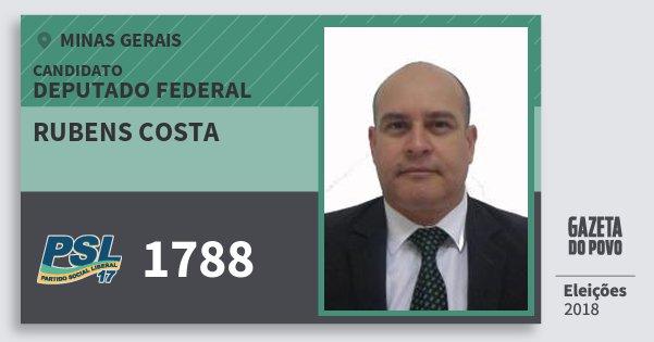 Santinho Rubens Costa 1788 (PSL) Deputado Federal | Minas Gerais | Eleições 2018