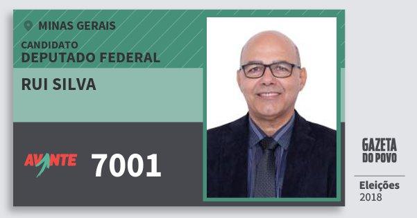 Santinho Rui Silva 7001 (AVANTE) Deputado Federal | Minas Gerais | Eleições 2018