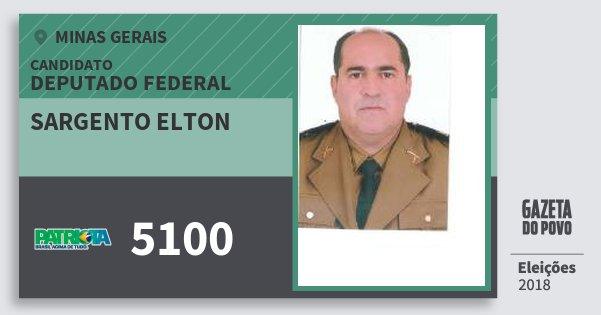 Santinho Sargento Elton 5100 (PATRI) Deputado Federal | Minas Gerais | Eleições 2018