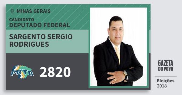 Santinho Sargento Sergio Rodrigues 2820 (PRTB) Deputado Federal | Minas Gerais | Eleições 2018
