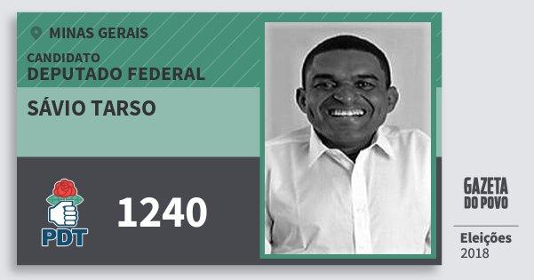 Santinho Sávio Tarso 1240 (PDT) Deputado Federal | Minas Gerais | Eleições 2018