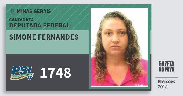 Santinho Simone Fernandes 1748 (PSL) Deputada Federal | Minas Gerais | Eleições 2018