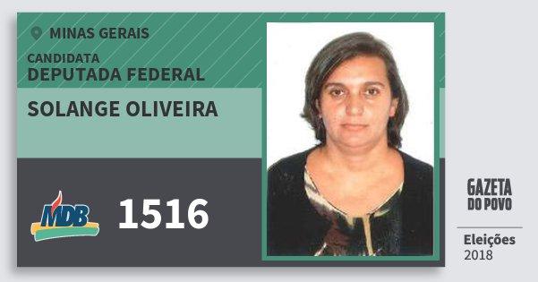 Santinho Solange Oliveira 1516 (MDB) Deputada Federal | Minas Gerais | Eleições 2018