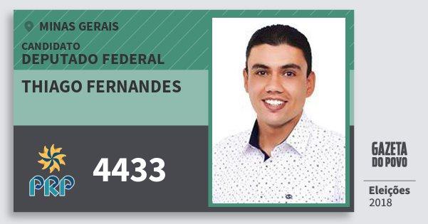 Santinho Thiago Fernandes 4433 (PRP) Deputado Federal | Minas Gerais | Eleições 2018