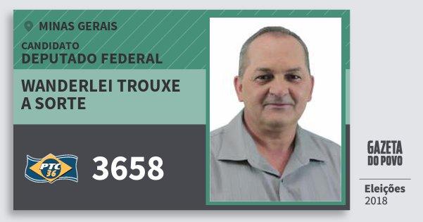 Santinho Wanderlei Trouxe A Sorte 3658 (PTC) Deputado Federal | Minas Gerais | Eleições 2018