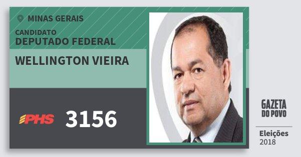 Santinho Wellington Vieira 3156 (PHS) Deputado Federal | Minas Gerais | Eleições 2018