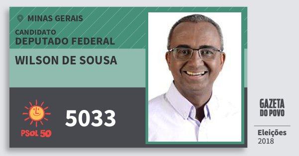 Santinho Wilson de Sousa 5033 (PSOL) Deputado Federal | Minas Gerais | Eleições 2018