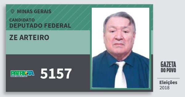 Santinho Ze Arteiro 5157 (PATRI) Deputado Federal | Minas Gerais | Eleições 2018