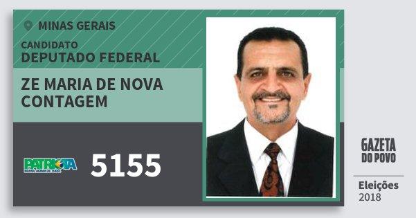 Santinho Ze Maria de Nova Contagem 5155 (PATRI) Deputado Federal | Minas Gerais | Eleições 2018
