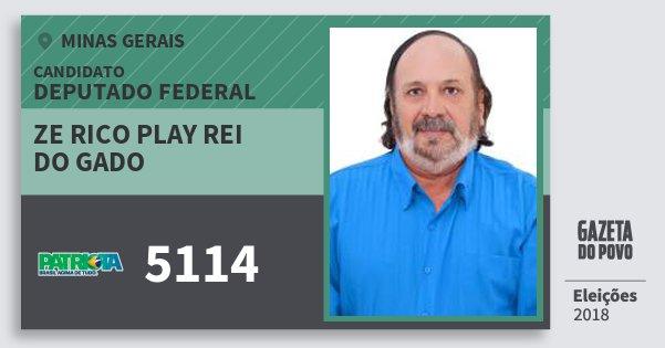 Santinho Ze Rico Play Rei do Gado 5114 (PATRI) Deputado Federal   Minas Gerais   Eleições 2018
