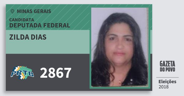 Santinho Zilda Dias 2867 (PRTB) Deputada Federal | Minas Gerais | Eleições 2018