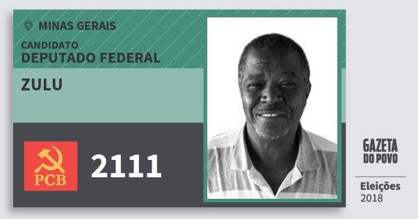 Santinho Zulu 2111 (PCB) Deputado Federal | Minas Gerais | Eleições 2018