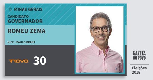 Santinho Romeu Zema 30 (NOVO) Governador | Minas Gerais | Eleições 2018