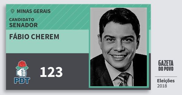 Santinho Fábio Cherem 123 (PDT) Senador | Minas Gerais | Eleições 2018
