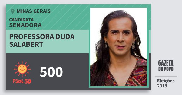Santinho Professora Duda Salabert 500 (PSOL) Senadora | Minas Gerais | Eleições 2018