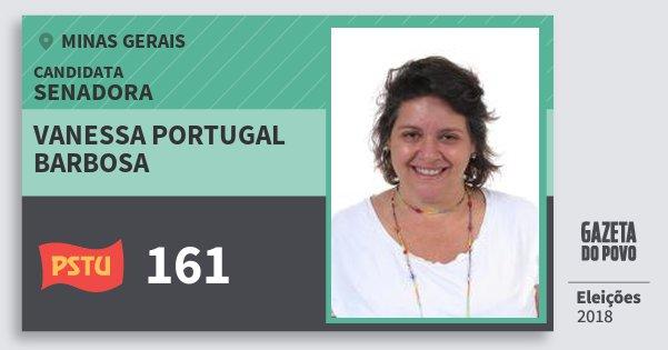 Santinho Vanessa Portugal Barbosa 161 (PSTU) Senadora | Minas Gerais | Eleições 2018