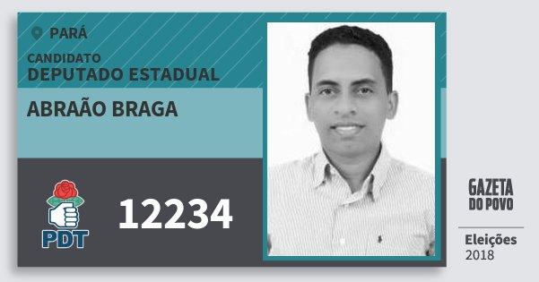 Santinho Abraão Braga 12234 (PDT) Deputado Estadual | Pará | Eleições 2018
