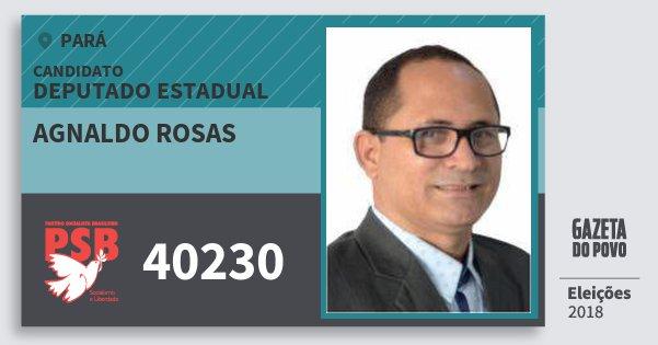 Santinho Agnaldo Rosas 40230 (PSB) Deputado Estadual | Pará | Eleições 2018
