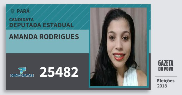 Santinho Amanda Rodrigues 25482 (DEM) Deputada Estadual | Pará | Eleições 2018