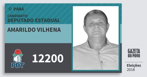 Santinho Amarildo Vilhena 12200 (PDT) Deputado Estadual | Pará | Eleições 2018