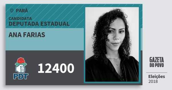 Santinho Ana Farias 12400 (PDT) Deputada Estadual | Pará | Eleições 2018