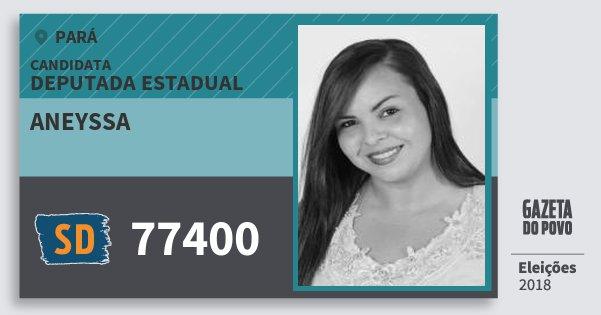 Santinho Aneyssa 77400 (SOLIDARIEDADE) Deputada Estadual | Pará | Eleições 2018