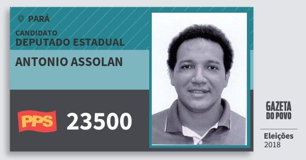 Santinho Antonio Assolan 23500 (PPS) Deputado Estadual | Pará | Eleições 2018