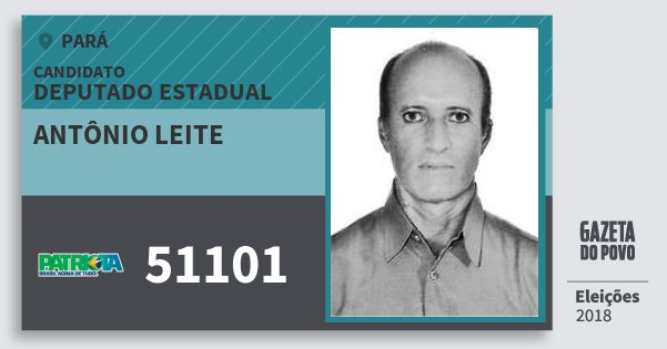 Santinho Antônio Leite 51101 (PATRI) Deputado Estadual | Pará | Eleições 2018