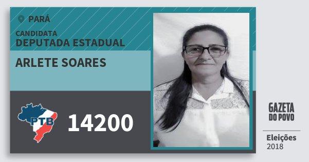 Santinho Arlete Soares 14200 (PTB) Deputada Estadual | Pará | Eleições 2018