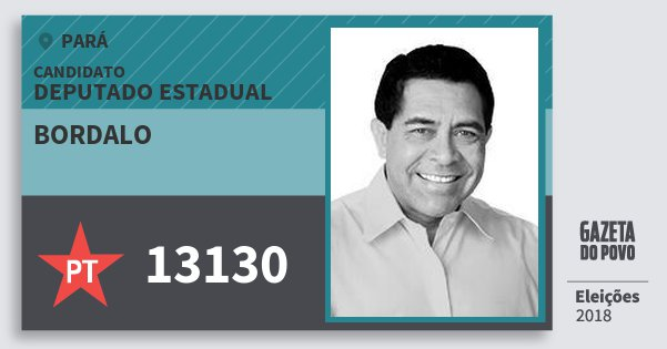Santinho Bordalo 13130 (PT) Deputado Estadual | Pará | Eleições 2018
