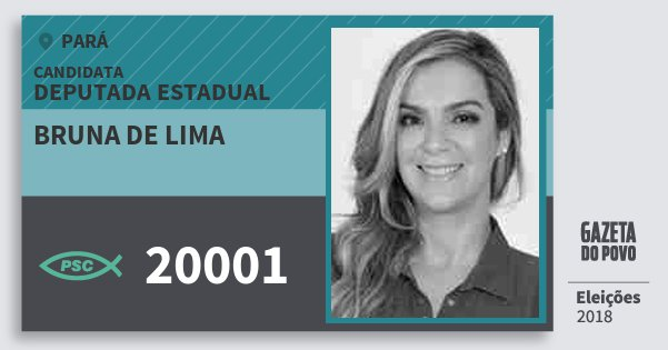 Santinho Bruna de Lima 20001 (PSC) Deputada Estadual | Pará | Eleições 2018